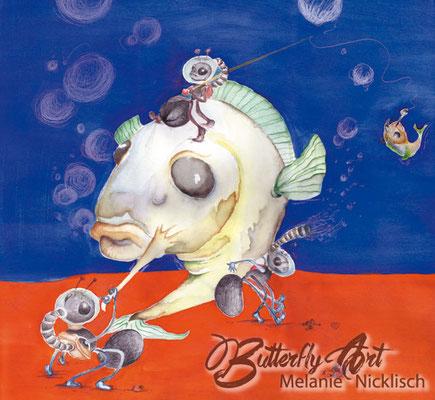 Fische/ Acry-Aquarell-Mischtechnik/ 60cm x60cm