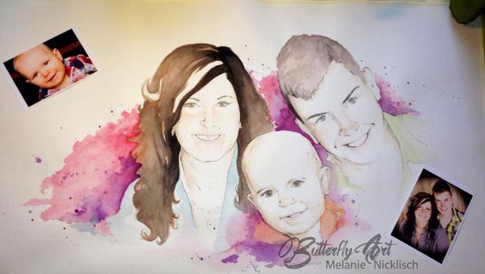 Familienportrait in Aquarell, nach Fotovorlage