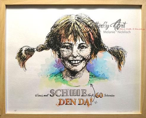 """aus der Kleinserie """"Pippi-Langstrumpf"""", Siebdruck aquarelliert, 40 cm x 50 cm"""