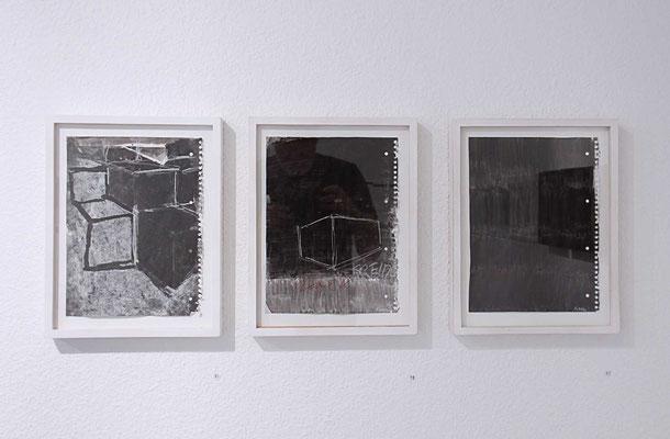 Marcel Peltier – Blocktreppe, Acryl und Kreide, Schwarz, 2017, Acryl und Kreide auf Papier