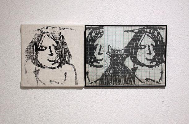 Eva Szecsödy – ohne Titel, 2-teilig, Siebdruck auf Leinwand, 30 x 30 cm 2007/17; Collage, div Materialien, mit Rahmen 30 x 40 cm 2007/17