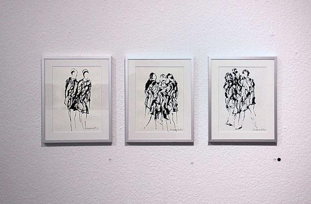 Margarita Flad– Begegnung, 2017, Tusche mit Büttenpapier, mit Rahmen