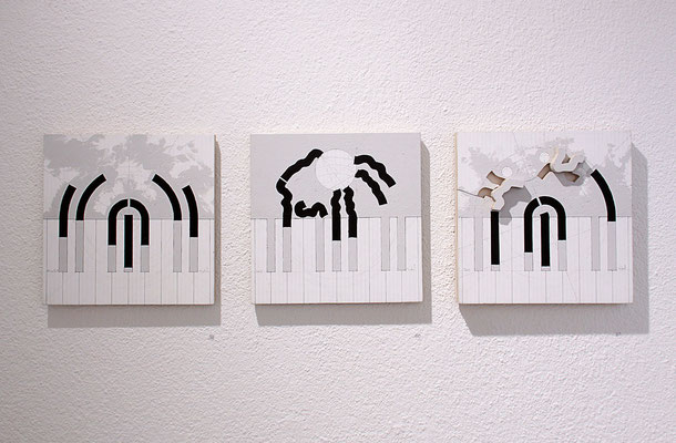 Jacquy Neukomm – meditations–architektur–musig, musig–diskussion–runde, musig–sprung–wirkung, 2017, Acryl und Bleistift auf Schichtholz