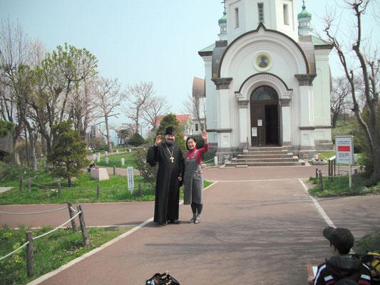 ハリストス正教会 故ニコライ司祭(左)と夫人(2009年) 函館