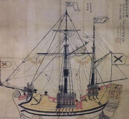 エカテリーナ号図(根室市博物館「俄羅͡斯舩之図」)