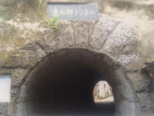 中に入ると滝廉太郎の曲が流れる、記念館に行く道にあるトンネル
