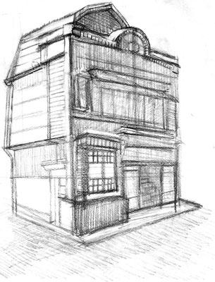 鉛筆スケッチ(植村邸)