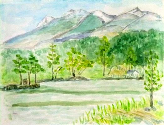 松原湖でのスケッチ