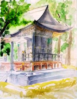 水彩スケッチ(旧自証院霊屋)