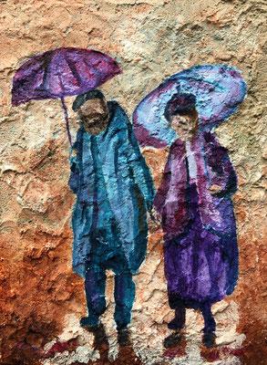 Mensenfiguren (stuctuur met zand)