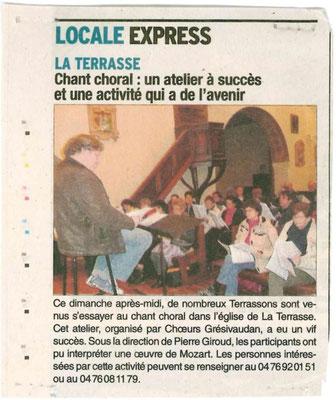 Article du Dauphiné Libéré du xx/10/2014