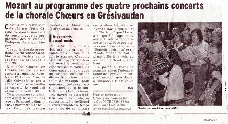 Article du Dauphiné Libéré du xx/11/2014