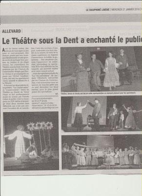 Article du Dauphiné Libéré du 27/01/2016