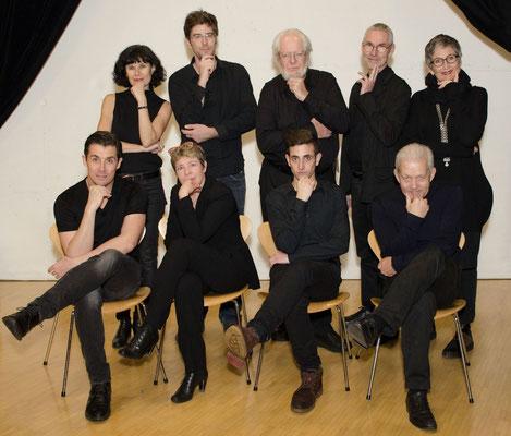 La troupe 2017-2018 (de gauche à droite): Valérie Lobsiger, Paul Pignat, Jean-François Perrochet, Beat Reber, Marie-Claude Reber, Jérémie Millot, Olga Bobrowska-Braccini, Yari Maltese, Yves Seydoux.