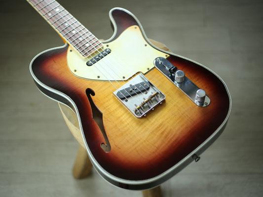 "MJT + Warmoth - Custom ""Herringbone"" Telecaster Thinline - Bourbon Burst"