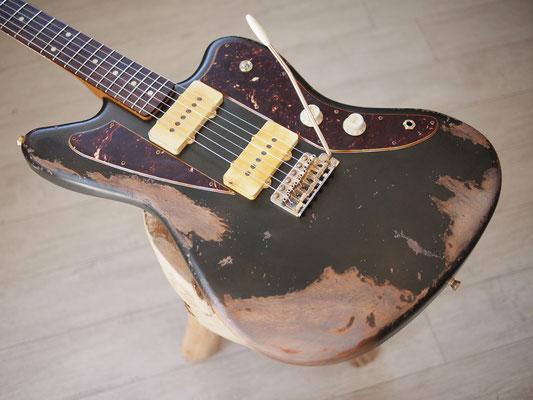 "Warmoth + MJT - Custom ""Split"" Jazzmaster - Faded Olive Drab Green Relic"