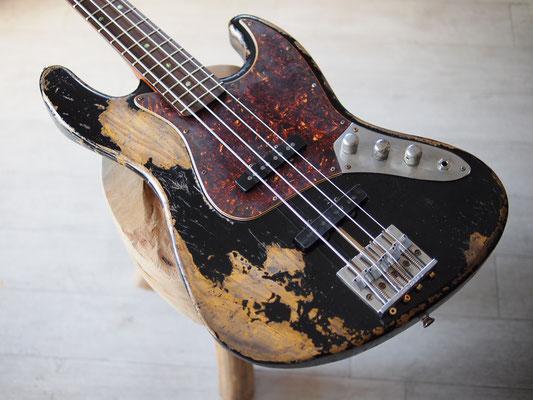 "MJT + Warmoth - Custom Jazz Bass - ""Dirty Black"" Relic"
