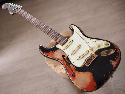 "Warmoth + MJT - ""F-Solid"" Stratocaster - Black Over Cherry Sunburst - Relic"