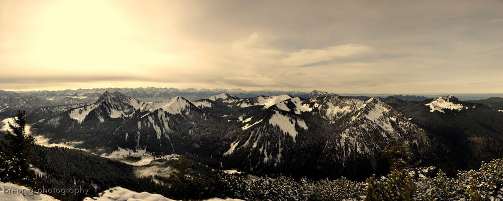 hirschberg / lake tegernsee: panorama view to buch- and ross-stein and others