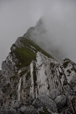 (un)expected weather change: daniel / ups near ehrwald - fog instead of view to zugspitze