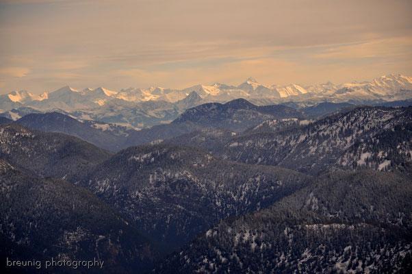 hirschberg / lake tegernsee: panorama view to kitzbuehler alps