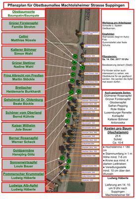 Pflanzplan mit den neuen Obstsorten Stand vom 14.10.2017