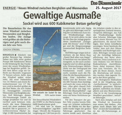 Windradbau zwischen Wennenden und Berghülen