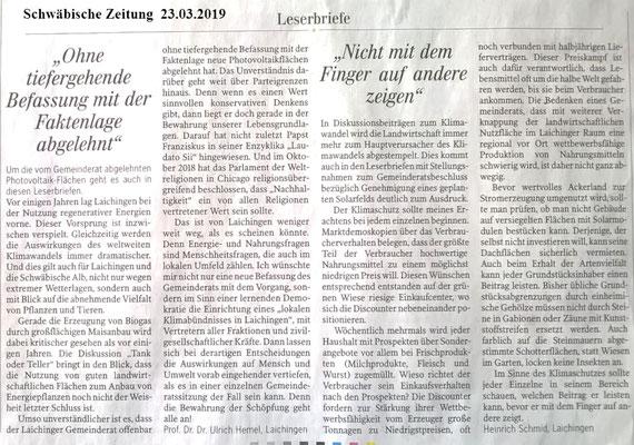 Schwäbische Zeitung 26.03.2019 Leserbriefe