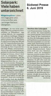 Südwest Presse 6. Juni 2019 Einreichung Bürgerbegehren Laichingen
