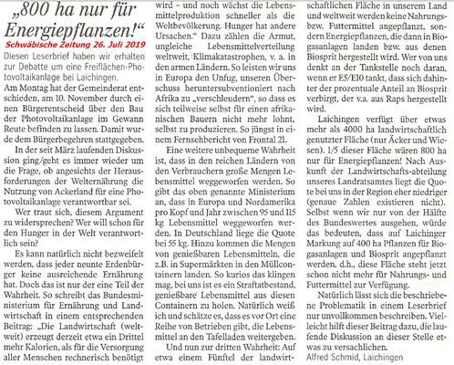 Leserbrief von Alfred Schmid vom 26. Juli 2019 in der Schwäbischen Zeitung