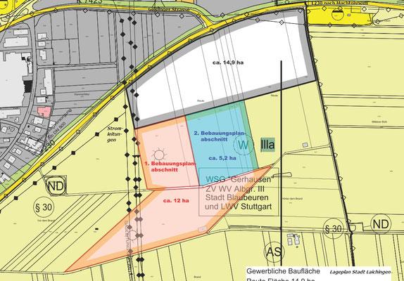 Die geplante Fläche für den Solarpark ist orange eingezeichnet