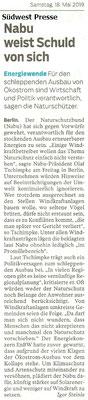 Südwest Presse 18. Mai 2019 Nabu weist Schuld von sich