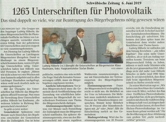 Schwäbische Zeitung 6. Juni 2019 Einreichung Bürgerbegehren Laichingen