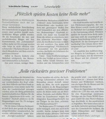 Schwäbische Zeitung 22.03.2019 Leserbriefe