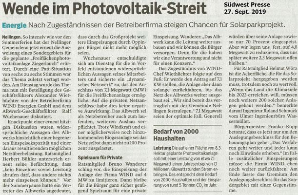 Südwest Presse 27.09.2019 Wende im Photovoltaikstreit Nellingen