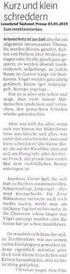 Südwest Presse 03.05.2019 Leserbrief wegen Insektenschredder