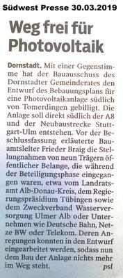 Südwest Presse 30.03.2019 Dornstadt Freiflächen-PV-Anlage
