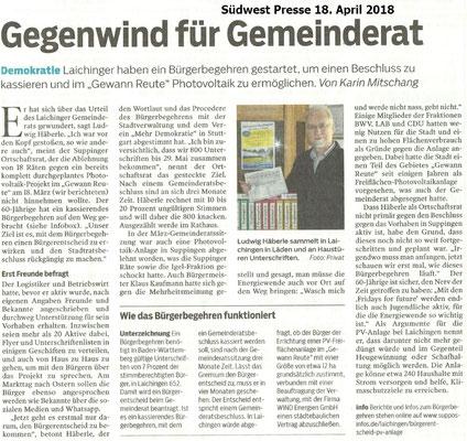 Südwest Presse 18.04.2019 Gegenwind für Gemeinderat