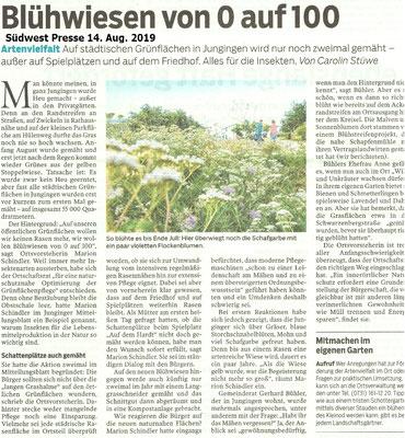Blühwiesen von 0 auf 100 Südwest Presse 14. Aug. 2019
