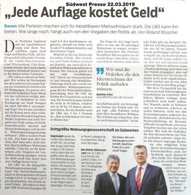 Südwest Presse 22.03.2019 Landes-Bau-Genossenschaft