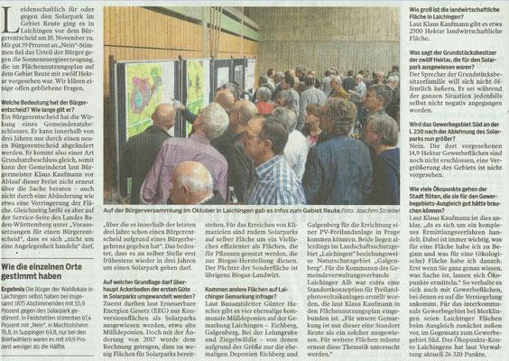 Südwest Presse 23.11.2019 Bürgerentscheid-und was jetzt?