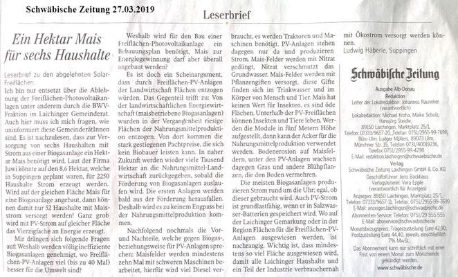 Schwäbische Zeitung 27.03.2019 Leserbriefe