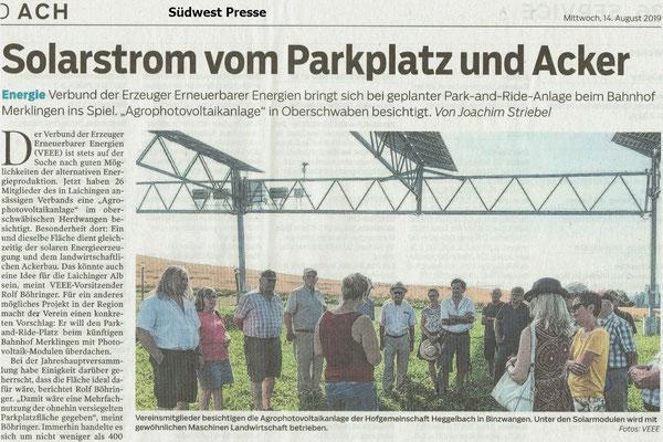 Solarstrom vom Parkplatz und Acker Südwest Presse 14. Aug. 2019