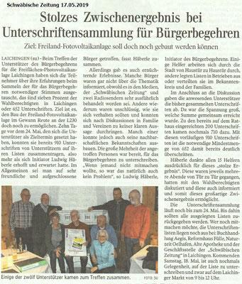 Bericht aus Schwäbischer Zeitung  vom 17. Mai 2019