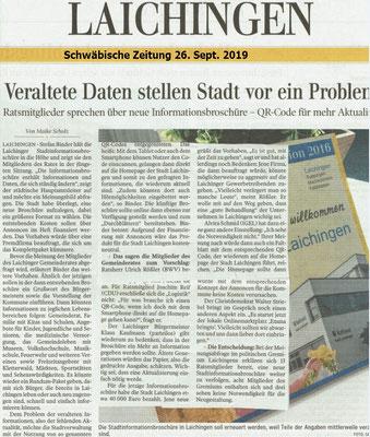 Schwäbische Zeitung 26.09.2019 Veraltete Daten stellen Stadt vor ein Problem