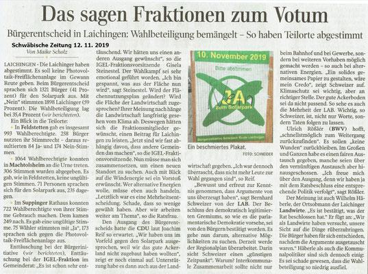 Schwäbische Zeitung 12.11.2019 Das sagen Fraktionen