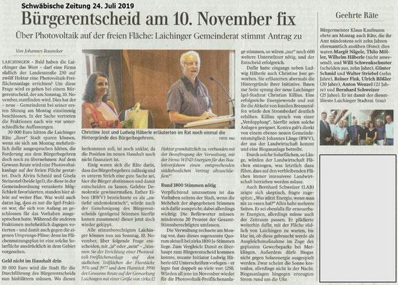 Bürgerentscheid am 10.November 2019_Schwäbische Zeitung 24.Juli 2019