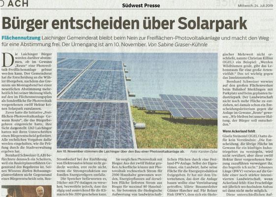 Bürger entscheiden über Solarpark in Laichingen_Südwest Presse 24. Juli 2019
