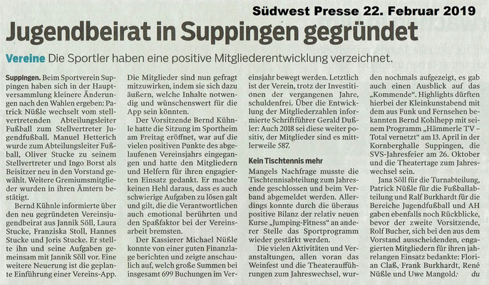 Südwest Presse 22. Feb. 2019 Jugendbeirat in Suppingen