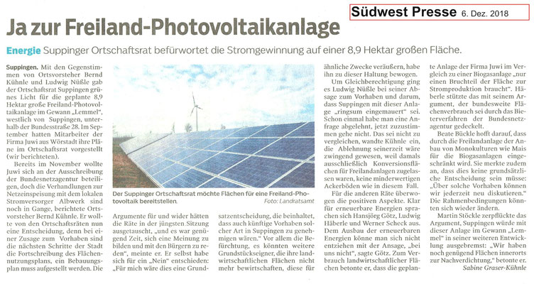 Südwest Presse 6. Dez. 2018  Ja zur Freiland-Photvoltaikanlage in Suppingen